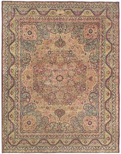 LAVER KIRMAN - Western Persian, 11ft 3in x 14ft 10in, Circa 1875. Inspired by historical Persian Court carpets, it presents a magnificently ornate medallion encircled by an exquisitely detailed, ornate field patterning.