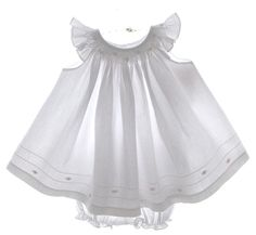 Will'Beth White Cotton Bishop Smocked Baby Dress with Pink Embroidered Flowers $55.00