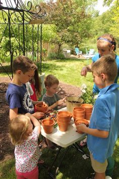 Kids garden party activity! Take some small clay pots, a flat of flowers and some extra soil. They loved it!