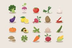 Vegetable Icons by Sunbzy on Creative Market