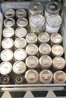 mason jar spice organizing **Update: I did it. I emptied out all my ginormous Costco spices, etc. into mason jars. Then I used my Cameo to create a label for them. Yay me!
