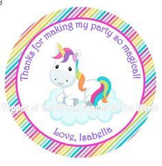 12 personalizada chica dulce arco iris unicornio Baby Shower o fiesta de cumpleaños Favor gracias etiquetas o adhesivos elija