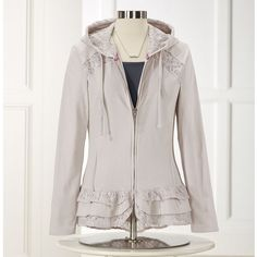Ruffles & Lace Cotton Hoodie - Women's Clothing, Unique Boutique Styles & Classic Wardrobe Essentials