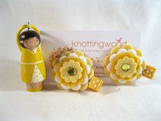 Hand Painted Wooden Peg Doll Necklace and Felt by knottingwood