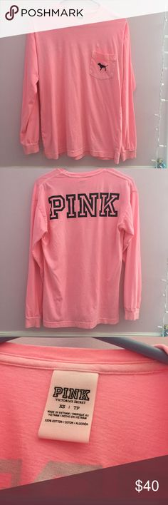 VS PINK Campus Tee This is a super cute NWOT VS PINK Tee! I've never worn it before and is super adorable. It has a crewneck collar and has long sleeves. I will consider most reasonable offers, but please don't send me anything outrageous. Trade value is $75. Feel free to ask any questions you may have. :) PINK Victoria's Secret Tops Tees - Long Sleeve
