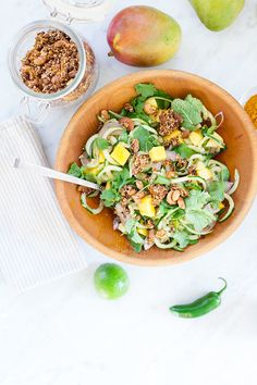 Spiralized Cucumber and Mango Salad. Spiralized cucumber and mango salad topped with chili lime dressing and savory granola: a refreshing summer salad that is vegan GF. Easy Summer Salads, Summer Salad Recipes, Healthy Salad Recipes, Vegan Recipes, Salad Toppings, Spiralizer Recipes, Mango Salad, Coconut Curry, Lime Dressing