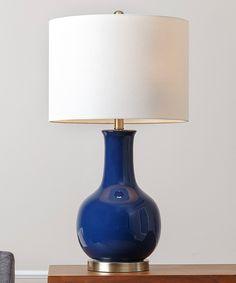 Good Navy Blue Gourd Ceramic Table Lamp