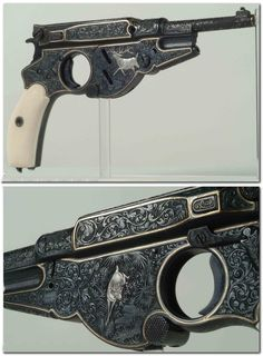 Rare engraved, silver, and gold inlaid Bergmann Model 1896 semi automatic pistol.