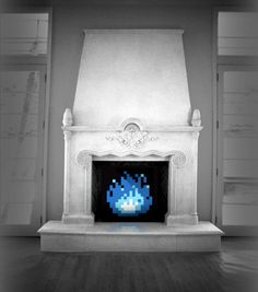 8bit Fireplace Art - Limited Edition. $80.00, via Etsy. This will keep me warm this Halloween ;)