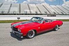 1970 Chevelle SS Convertible. redone ss 70 chevelle sema 2014 custom interior console dash red black and grey convertible. TMI EFI door panels seats spoiler custom front bumper