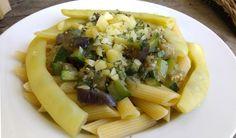 "Pasta with zucchini, eggplant, garlic, polish sheep's milk cheese ""Oscypek"" and yellow string beans."