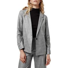 Topshop 'Check Tonic' One-Button Suit Blazer (£79) ❤ liked on Polyvore featuring outerwear, jackets, blazers, grey, single button blazer, gray blazer, grey jacket, topshop and straight jacket