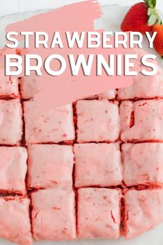 Strawberry Brownies Recipes - easy with a cake mix and frosting recipe too! #strawberry #brownies #cake #mix #recipe #frosting #icing #glaze Cake Mix Desserts, Cake Mix Recipes, Sweets Recipes, Brownie Recipes, Recipe With Cake Mix, Yummy Recipes, Cookie Recipes, Snack Recipes, Kitchens
