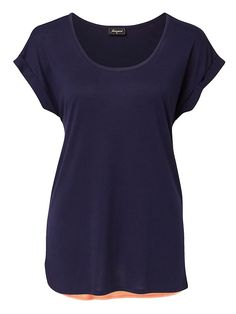 'Lucy' Colour Block Tee - Night Blue/Cantaloupe $29.99