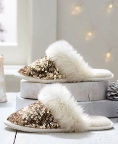 gold sequin slippers one sale for $9.99! stock up for Christmas!