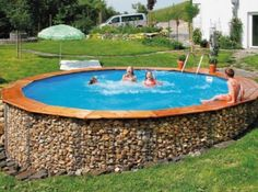 gabion walled above ground pool