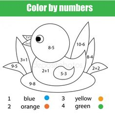 Векторы, похожие на 138204256 Educational page with exercises for children on addition and subtraction. Need to solve examples and to paint the image in relevant colors. Kindergarten Math Worksheets, Preschool Activities, Teaching Kids, Kids Learning, Creative Bookmarks, Math Anchor Charts, Educational Games For Kids, Color By Numbers, Free Preschool