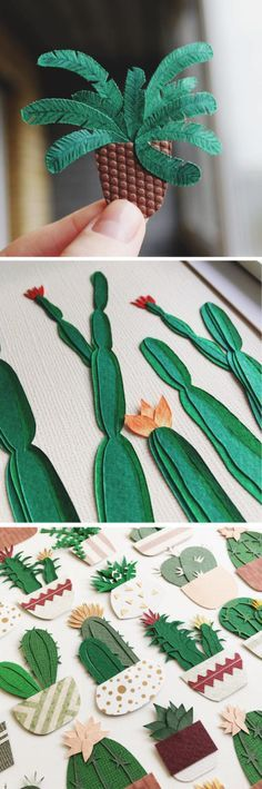Paper Craft Cacti That Fits in the Palm of Your Hand is part of Paper crafts Art - Can't keep a cactus alive Have no fear! With Lissova Craft, you can still enjoy the prickly plant with paper craft cacti that fits in your hand Diy And Crafts, Crafts For Kids, Arts And Crafts, Diy Paper, Paper Art, Paper Plants, Paper Succulents, Ideias Diy, Paper Design