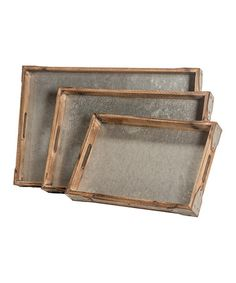 Loving this Distressed Rectangular Decorative Tray Set on #zulily! #zulilyfinds Tray idea: cover with metal.