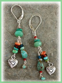 """In the Heart  IN THE MIX Carico Lake & KingMan Turquoise Milky Chrysoprase, Garnet & Apatite Old Red White Heart Trade Beads Orange Spiny Oyster Shell Artisan crafted sterling silver """"Hearts"""" Sterling Leverback Earwires  SIZING IT UP Dangle length.....1.5 inches Overall earring length (including earwires).....2.0 inches"""