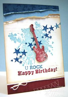Stampin Up Grunge Rock & Extreme Elements by Teneale Boy Cards, Kids Cards, Scrapbooking, Scrapbook Cards, Musical Cards, Birthday Cards For Boys, Masculine Cards, Card Tags, Stampin Up Cards