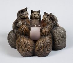 Circle of Cats Candle Holder -- 7 Stone Kittens -- Windstone Editions -- 2009