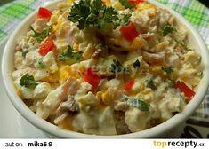 Hermelínový salát s Cottage, vejci a sušenými rajčaty recept - TopRecepty. Cheeseburger Chowder, Soup, Cottage, Fitness, Bulgur, Soups, Cabin, Soup Appetizers, Excercise
