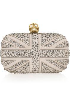 Britannia Skull crystal-studded suede box clutch McQueen.