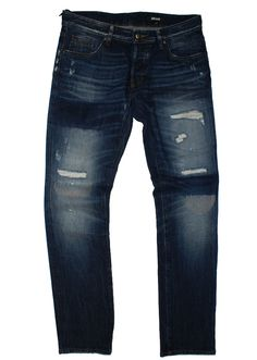 Just Cavalli Blue jean with rips and abrasions S03HA0042, Free Shipping at CelebrityModa.com