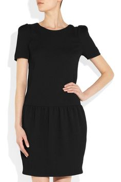 Black lightweight cloquet crepe Softly pleated shoulders, gathered dropped waist, fully lined Concealed zip and hook fastening at back 100% polyester; lining: 96% silk, 4% elastane Dry clean