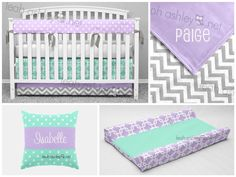 LeahAshleyOKC - www.leahashley.net - Soothing and sweet baby girl nursery idea in lavender, gray, and mint.  Or...design your own nursery items on our website!    baby bedding | bumperless crib bedding | baby girl | gray lavender mint nursery | teething rail cover | changing pad cover | name pillow | minky baby blanket | chevron | crib skirt