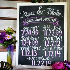 "Love Story Chalkboard Painted Wedding Sign 18"" x 24"""
