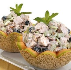 recipe for Cantaloupe with Chicken Salad recipe, For a refreshing fruity summery chicken salad, try this delightful recipe. Cantaloupe Recipes, Radish Recipes, Chicken Salad Ingredients, Chicken Salad Recipes, Salad Chicken, Cheddarwurst Recipe, Frangipane Recipes, Mulberry Recipes, Recipes