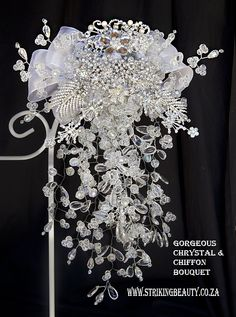 Chrystal brooch bouquet with chiffon and diamante jewellery. Unique and very beautiful. Wedding Brooch Bouquets, Autumn Theme, Jewelry Crafts, Chiffon, Jewellery, Weddings, Patterns, Unique, Beautiful