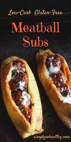 These Low-Carb Meatball Subs have everything you'd expect from a meatball sub, except the carbs. This recipe can work for lc/hf, ketogenic, diabetic, Atkins, low-carb, gluten-free, and Banting diets.