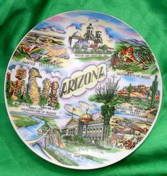Colorful Funky Vintage ARIZONA Souvenir Plate - Painted Desert