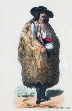 Men from the Mountains in Wallachia Romania Costume. Manners, customs and costumes of all peoples of the world by Auguste Wahlen. Costumes Around The World, Auguste, People Of The World, Illustrations, Historical Clothing, Fashion History, Romania, Old Photos, Art Drawings