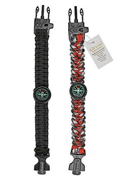 A2S Paracord Bracelet Survival Gear Kit Colorful Everest Series with built-in New Type Compass, Fire Starter, Emergency Knife & Whistle - Pack of 2 - Quick Release Buckles (Black / Red Camo) - TESTED FOR EXCELLENCE: Has been tried & tested to a minimum breaking point of 550lbs/250kg. Deploy your 12 FEET OF PARACORD in any situation where an extremely strong rope or cordage is needed. UNMATCHED POWER & VERSATILITY: Comfortably fits all wrist sizes between 8 -9 inches. PLEASE NOTE The PINK…
