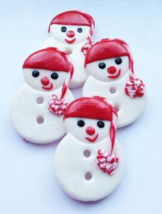 buttons.quenalbertini: Christmas Snowman Polymer Handmade Buttons, set of 4