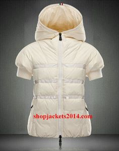 9446c6868a8 Moncler Outlet UK 2014 New Womens Hooded Short Sleeve Down Jackets White  M3015 Jackets For Women