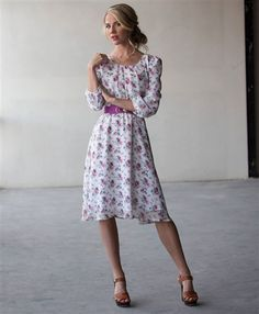 The Blake from Mikarose Spring 2015 Collection. Love this beautiful purple floral print and the flowy chiffon