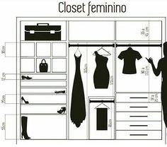 Resultado de imagem para closet feminino medidas