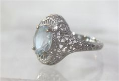 Antique aquamarine ring in filagree platinum setting size 6 1/2