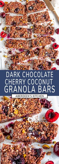 Chocolate cherry coconut granola bars - A delicious, healthier, vegan dessert option or as a sweet treat for breakfast on the go with fresh cherries, coconut, and dark chocolate shavings. Gluten and dairy free! From aberdeenskitchen.com #chocolate #cherry #coconut #granola #bars #dessert #breakfast #healthy #onthego #recipe #vegan #glutenfree #dairyfree