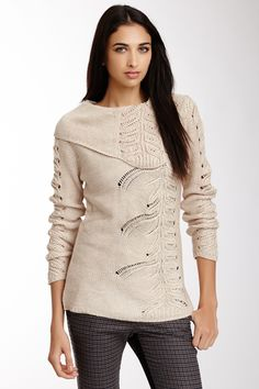 Beautiful Lace Patterned Carducci Knit Pullover
