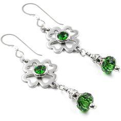 St. Patricks Day Earrings, Emerald Earrings, Shamrock earrings, Green... ($22) ❤ liked on Polyvore featuring jewelry, earrings, earrings jewellery, leaves earrings, emerald earrings, emerald green earrings and clover leaf jewelry