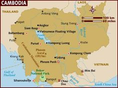 Cambodia, officially known as the Kingdom of Cambodia, is a country located in the southern portion of the Indochina Peninsula in Southeast Asia. Capital: Phnom Penh; Dialing code: 855; Currency: Cambodian riel; King: Norodom Sihamoni; Population: 14,305,183 (2011); National anthem: Nokoreach.