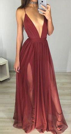 Sexy Maroon Prom Dress - Deep V-neck Long