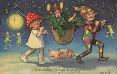 Fritz Baumgarten, Neujahr, Pilzmädchen u. Harlekin mit Lampion, Geistersternchen | eBay