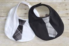 Two Baby Boys Tie Bibs with Fleece Backing. $8.00, via Etsy.